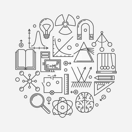electrics: Physics round illustration - vector linear science symbol or logo Illustration