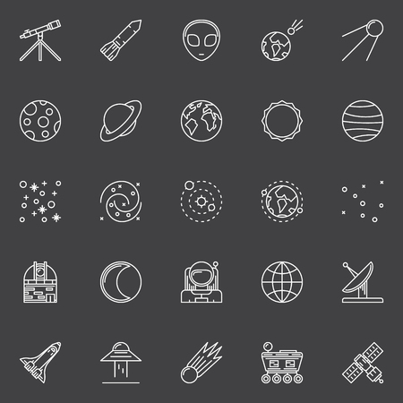 astronautics: Space icons - vector set of astronomy and universe linear symbols or signs on dark background Illustration