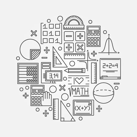 Ilustración lineal de matemáticas - concepto de diseño de fondo de círculo de educación matemática de vector