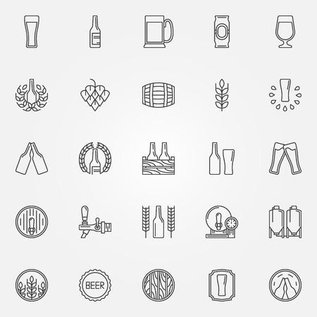 beer drinking: Beer icons set - vector line symbols of bottle, glass, mug or pub logo elements Illustration