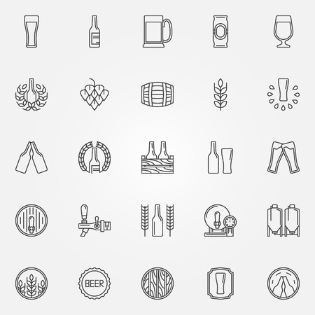 Beer icons set - vector line symbols of bottle, glass, mug or pub logo elements Çizim