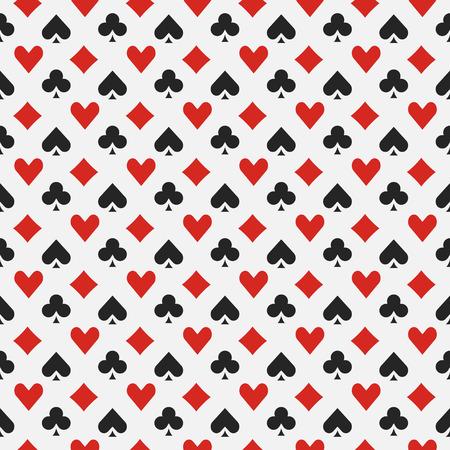 Achtergrond met kaart kostuums - vector naadloze casino of poker patroon