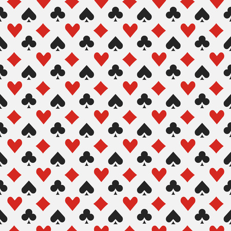Background with card suits - vector seamless casino or poker pattern Vettoriali