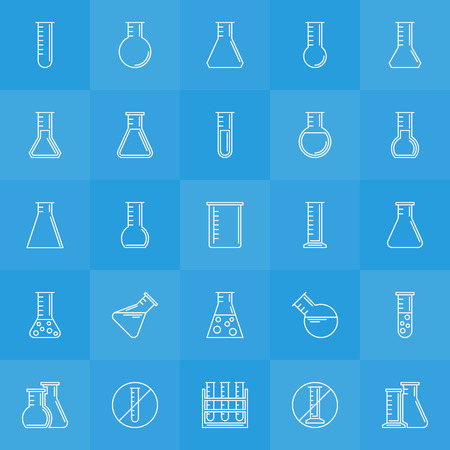 pharmacology: Experiment glass flask icons - vector linear set of pharmacology flask symbols and test tubes signs