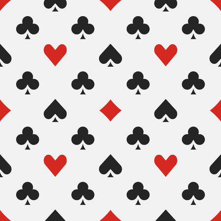 Elegant poker pattern - vector seamless casino background or texture with card suits Banco de Imagens - 48107800