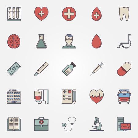egészségügyi ellátás: Medical icons - vector colorful health care symbols or signs