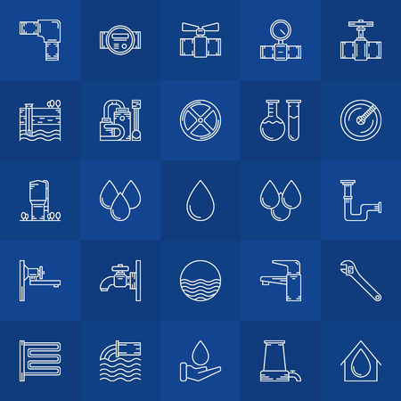 bathroom equipment: Water supply icons - vector linear collection of bathroom equipment symbols or water logo elements