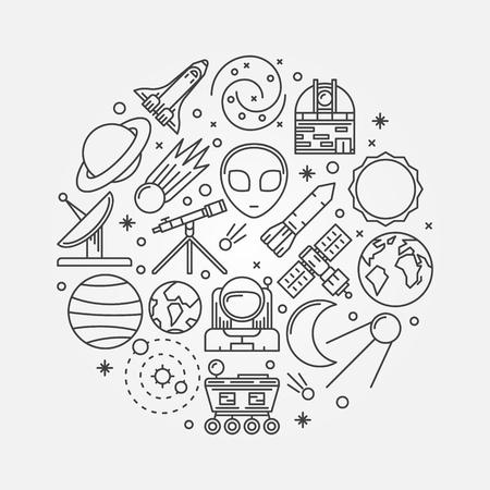 astronautics: Astronomy illustration - vector thin line space symbols