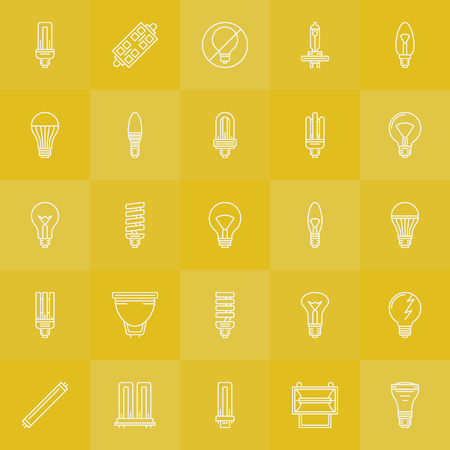 halogen: Light bulbs icons set - vector white line LED, incandescent, halogen, fluorescent bulb symbols or logo elements