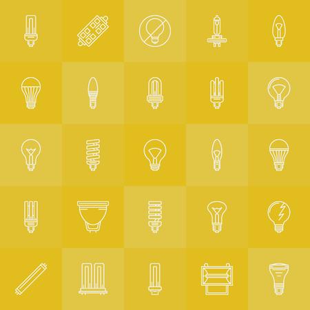 Light bulbs icons set - vector white line LED, incandescent, halogen, fluorescent bulb symbols or logo elements