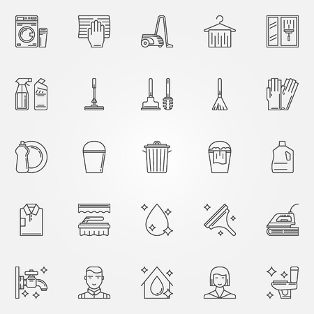clean dishes: Cleaning icons set linear cleaning tools signs Illustration
