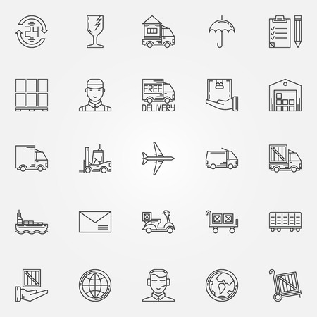 Delivery icons set - vector collection of thin line delivery and logistic signs
