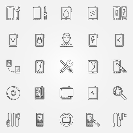 Phone repair icons set - vector mobile phone service signs