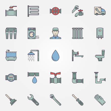 tube wrench: Vector plumbing icons - set of colorful plumbing objects, pipeline and tools symbols