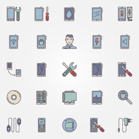 Smartphone repair icons set