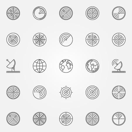 sonar: Radar icons set thin line radio location sign or sonar logo element