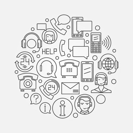 Call or support center design illustration  Ilustração