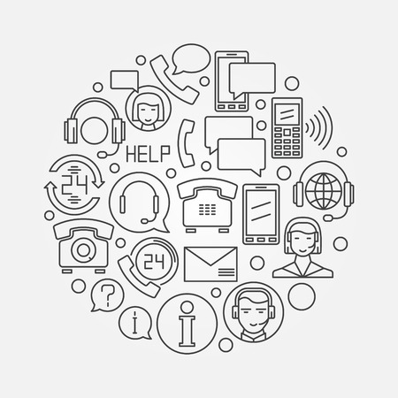 Call or support center design illustration  Vectores