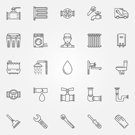 plumbing tools: Plumbing icons set - thin line sanitary engineering symbols