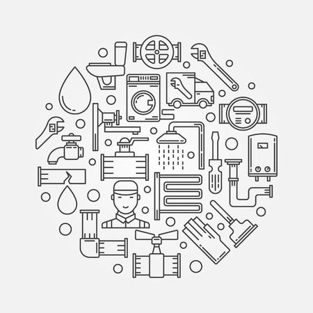 fontanero: Reparación de fontanería ilustración Vectores