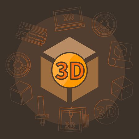 3D printing illustration - vector brown 3D print symbol concept