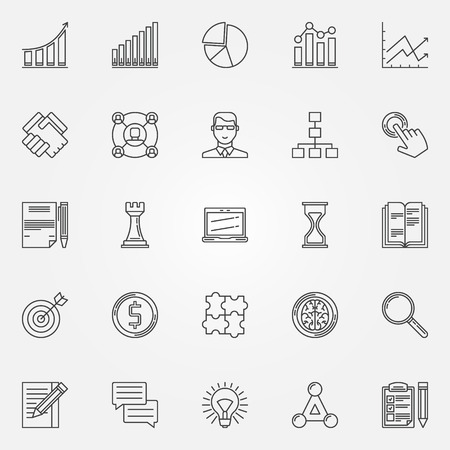 notebook icon: Business strategy linear icons - vector set of business plan or strategy symbols  Illustration