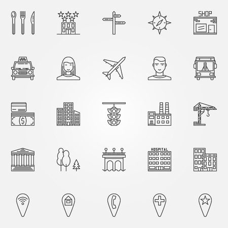 infrastructure buildings: City line icons set - vector location symbols or town  elements in thin line style Illustration