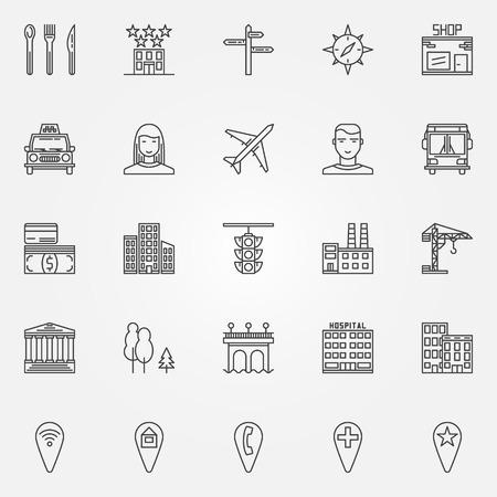 infraestructura: iconos de líneas de la ciudad fijados - vector de símbolos o elementos de localización de la ciudad en el estilo de línea delgada Vectores