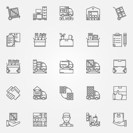 Casa o in ufficio icone in movimento - Vector set di muoversi simboli servizi in un sottile stile di linea. trasporto lineari e segni di consegna