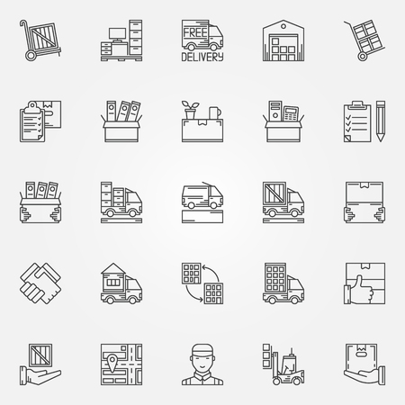 moving box: House or office moving icons - vector set of moving services symbols in thin line style. Linear transporting and delivery signs Illustration