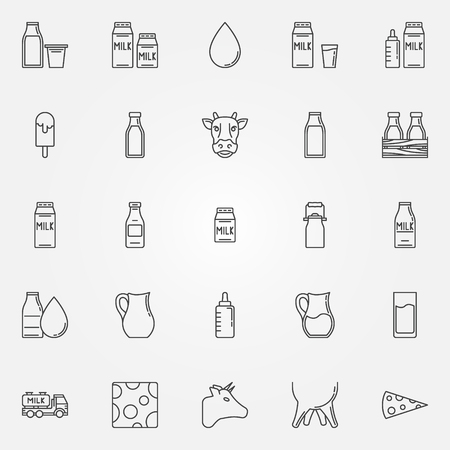 Milk icons set - vector linear milk package symbols, ice cream, cow signs