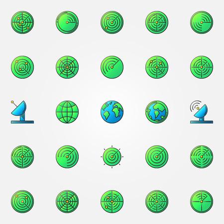 sonar: Radar icone colorate set - vector segno di radiolocalizzazione o elemento sonar. Radar greem pittogrammi collezione