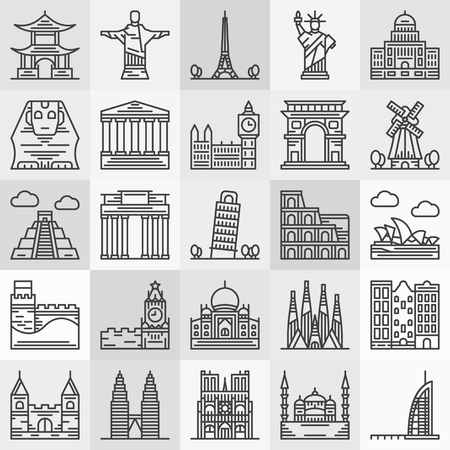 Travel landmarks icons - vector popular architecture and famous monument symbols in thin line style