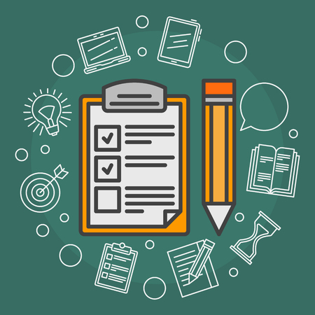 list: To Do List vector illustration - flat reminder concept background with outline icons Illustration