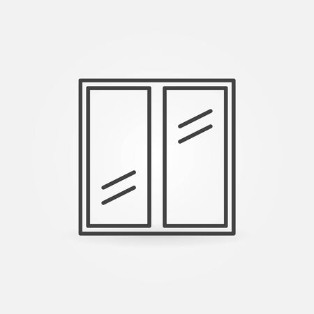 glazed: Plastic window icon - vector glazed window outline symbol or sign
