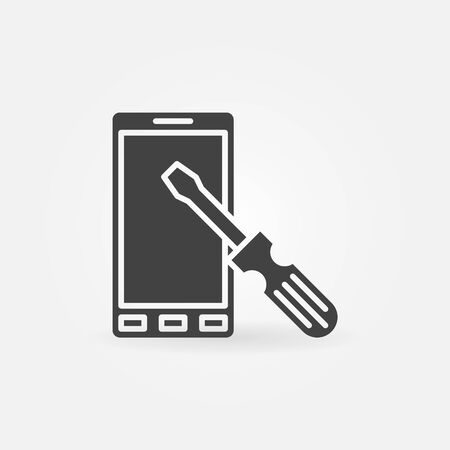 tech support: Smart-phone repair icon or logo - vector dark simple mobile phone service and maintenance  symbol