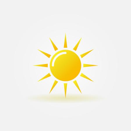 Sun icon or logo - vector yellow glossy sunshine symbol Illustration