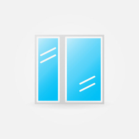 glazed: Glazed window glossy icon - vector window symbol or logo