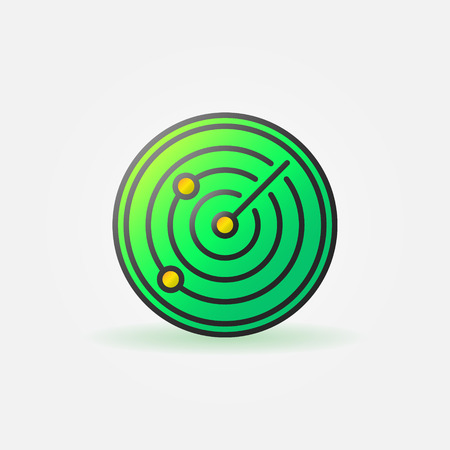 sonar: Glossy radar green icon - vector sonar colorful sign or logo