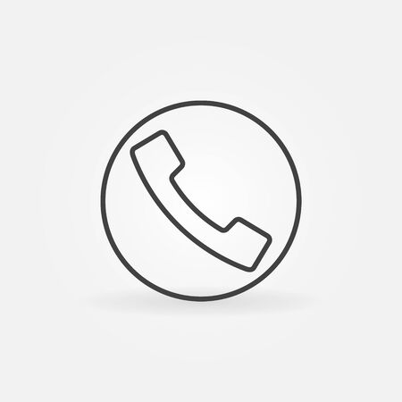 simple logo: Phone line icon or logo - vector linear simple telephone support sign