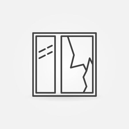 broken window: Broken window icon - vector minimal broken glass pane sign or symbol in thin line style