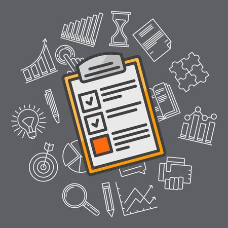 Ilustración plan de negocios - vector de la estrategia de diseño de fondo plano de planificación con iconos de líneas finas