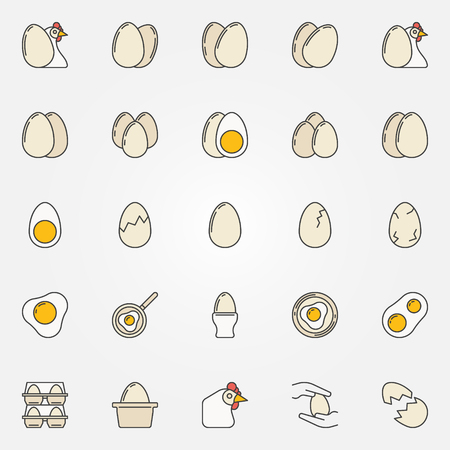 broken eggs: Egg icons collection - vector set of scrambled and broken eggs, chickens and other signs