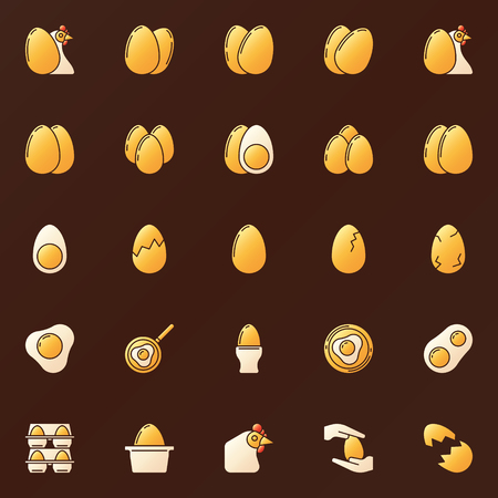 Yellow eggs icons set - vector glossy golden eggs signs or logo elements