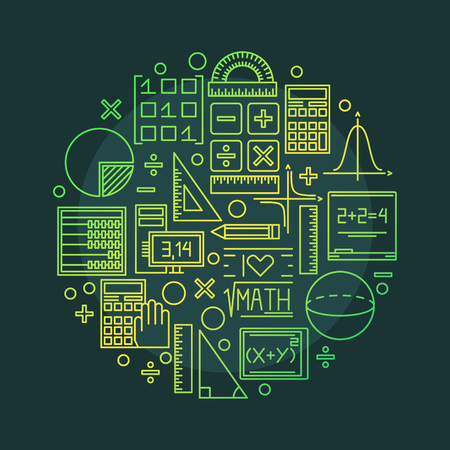 Math vector illustration - round mathematics and geometry symbol or background made with outline icons