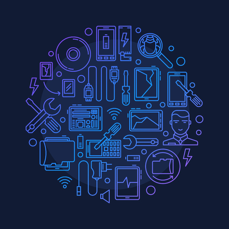 Mobile repair illustration - vector round smart phone or tablet repair symbol made with outline icons on dark blue background