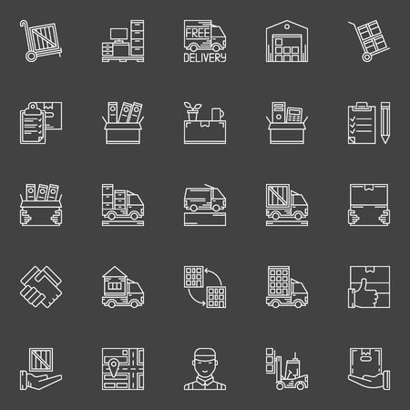moving office: Moving line icons set - vector collection of office and house moving service signs or logo elements on dark background Illustration