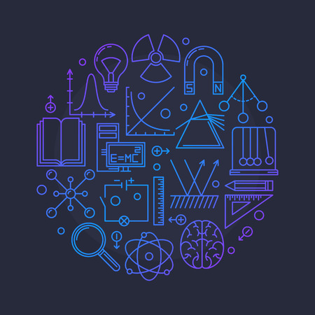 electrics: Physics vector glossy illustration - round education or science symbol made with outline physics signs