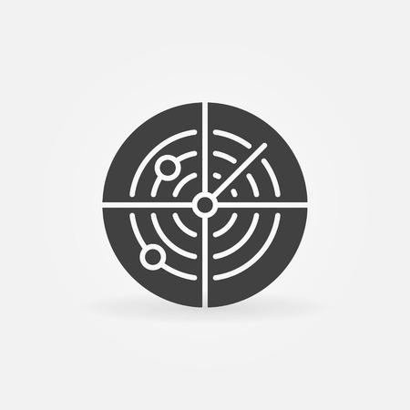 sonar: Dark radar icon or logo - vector sonar concept symbol
