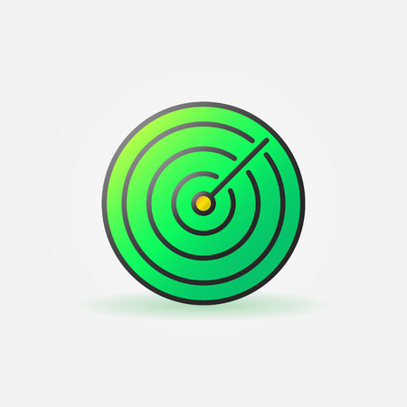 sonar: Green sonar icon or logo - vector radiolocation and radar sign